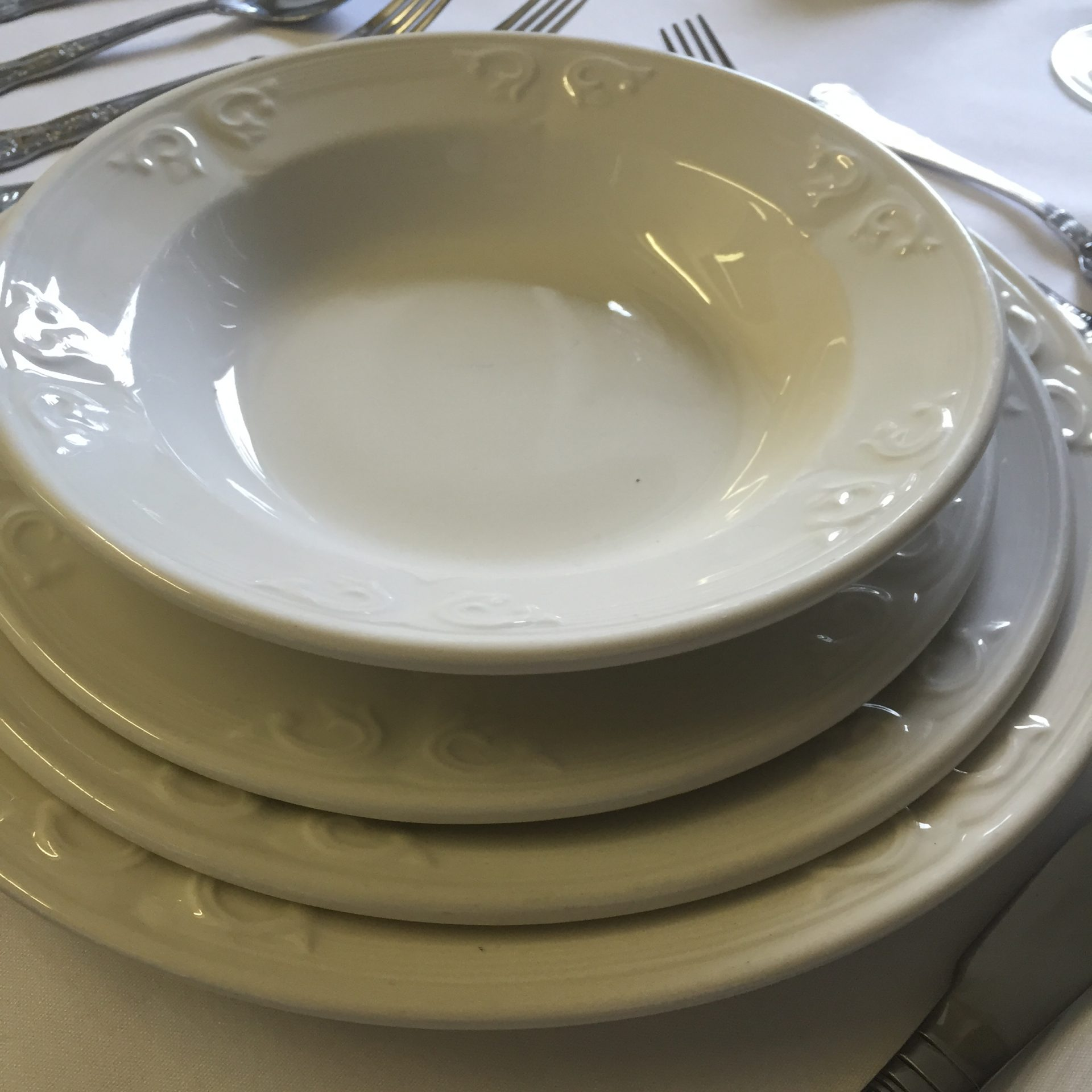 Aspen Soup Plate stack. Evolution Crockery & Crockery hire for weddings parties and events in Northern Ireland